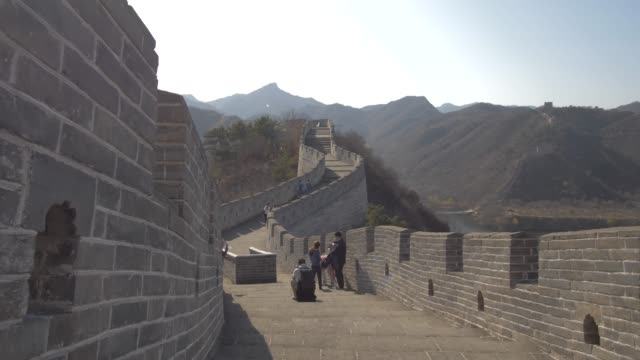 people and great wall of china at huanghua cheng (yellow flower), unesco world heritage site, xishulyu, jiuduhe zhen, huairou, people's republic of china, asia - great wall of china stock videos & royalty-free footage