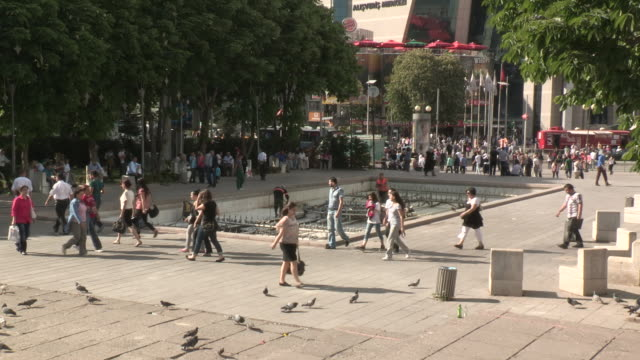 People and Pigeons in a Downtown Plaza, Ankara, Turkey
