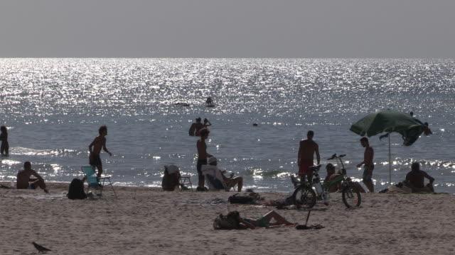 people and the sea, tel aviv, israel - tel aviv stock videos & royalty-free footage