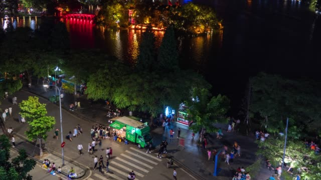 People and Traffic at Night, Hanoi, Vietnam