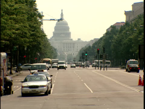 2006 ws people and traffic crossing busy street near united states capitol building / washington, dc, usa - 2006 stock videos and b-roll footage
