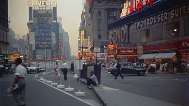 1955 ws people and traffic in times square, new york city, new york, usa - viewpoint stock videos & royalty-free footage