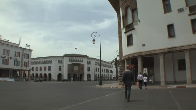 ws people and traffic outside post office, rabat, morocco - personal land vehicle stock videos & royalty-free footage