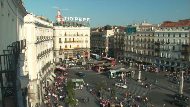 WS HA People ant traffic in Puerta del Sol, Madrid, Spain