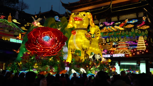 people are enjoying the lantern show at night 2018 shanghai yu garden lantern show the most famous and influential folk activity during spring... - chinese new year stock videos & royalty-free footage