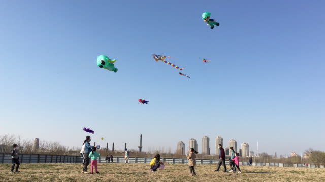 people are flying colorful kites on an empty parkland. for the covid-19 epidemic situation is much better in china, more and more people go outdoors... - natural parkland stock videos & royalty-free footage