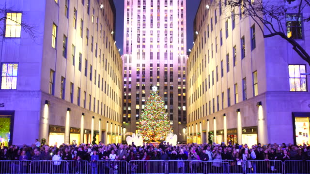 people are watching saks fifth avenue christmas light show from opposite side of 5th avenue - ロックフェラーセンターのクリスマスツリー点の映像素材/bロール