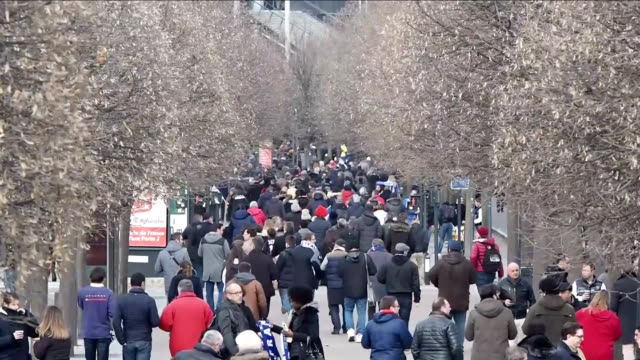 people arrive at the stade de france prior to the rugby rbs 6 nations match between france vs italy in stdenis near paris france on february 06 2016... - mature couple stock videos & royalty-free footage