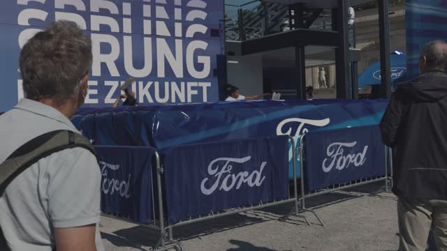 people arrive to view displays including the 2021 hyundai at the iaa munich motor show in munich mercedes benz eqe on september 8, 2021 in munich,... - portability stock videos & royalty-free footage