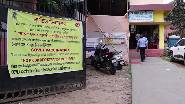 people arrives at a covid-19 vaccination centre on april 09, 2021 in guwahati, india. starting from 1 april, people above 45 years takes vaccines... - senior men stock videos & royalty-free footage