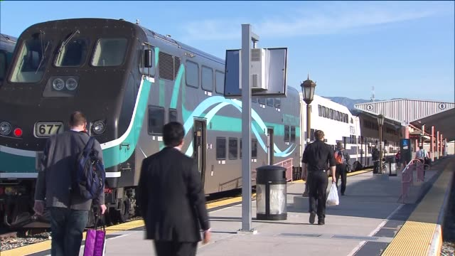 ktla people arriving and departing metrolink trains at union station in downtown los angeles on march 5th 2015 - union station los angeles stock videos & royalty-free footage