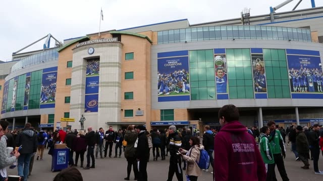 people arriving at stamford bridge, home to chelsea fc before the barclays premier league match between chelsea and west bromwich albion at stamford... - general view stock videos & royalty-free footage