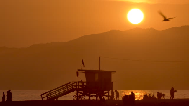 People arriving at the beach withe the golden sun sparkling on the water