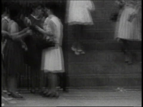 1965 montage people arriving for sunday service at church / new york city, new york, united states - 1965 stock videos & royalty-free footage