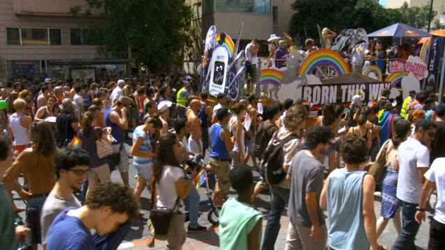 ms people at annual gay pprade  / tel aviv, israel - parade stock videos & royalty-free footage