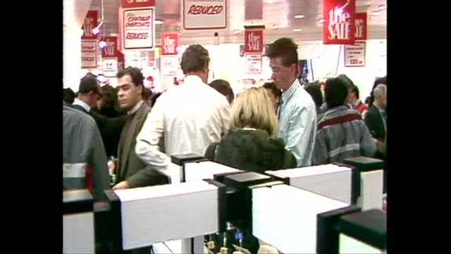 people at boxing day sales in debenhams department store on oxford street, 1986 - sales occupation stock videos & royalty-free footage