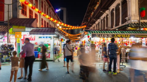 tl ms people at chinatown market at night - chinatown stock videos & royalty-free footage