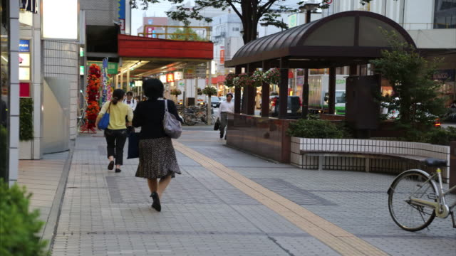 people at downtown of fukushima - ladenschild stock-videos und b-roll-filmmaterial