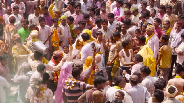 people at holi festival, india. - religious celebration stock videos & royalty-free footage