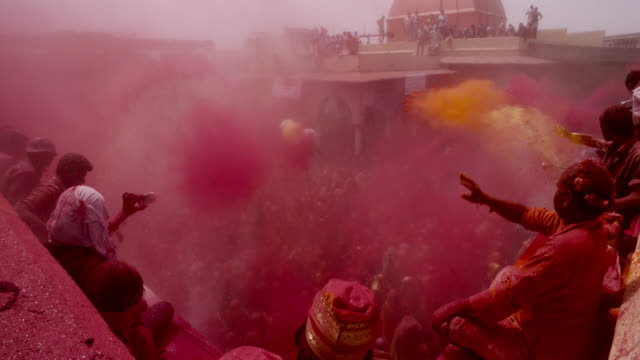 people at holi festival, india. - spirituality stock videos & royalty-free footage