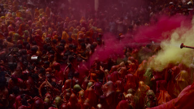 people at holi festival, india. - pink color stock videos & royalty-free footage