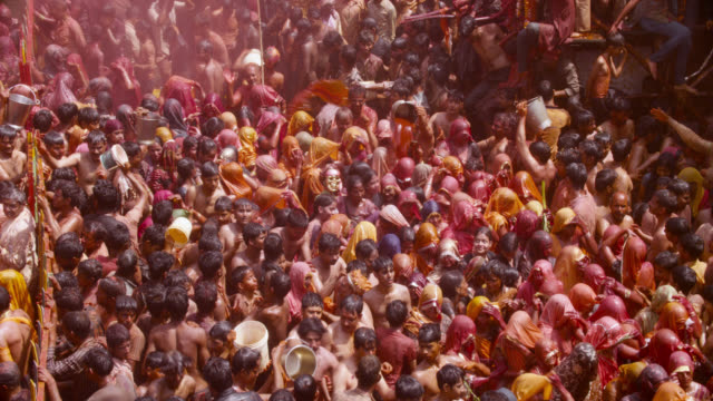 people at holi festival, india. - hinduism stock videos & royalty-free footage