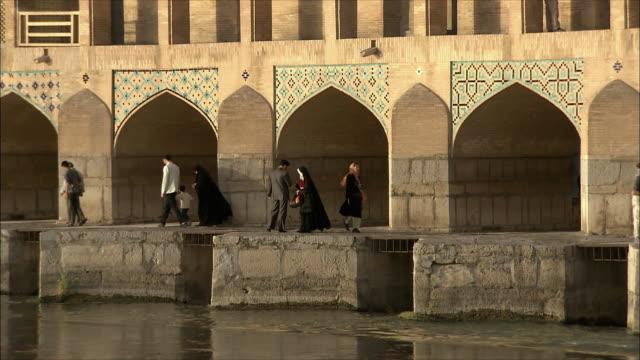 MS People at Khaju Bridge on Zayandeh River, Isfahan, Iran