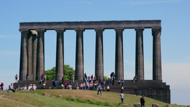 people at national monument of scotland, calton hill, edinburgh, scotland - calton hill national monument stock videos and b-roll footage
