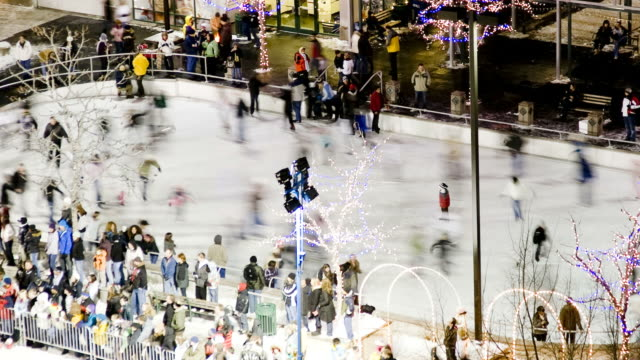 ws t/l ha people at outdoor ice skating rink/ salt lake city, utah, usa - ice rink stock videos and b-roll footage