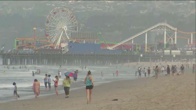 ktla people at santa monica beach - santa monica pier stock videos & royalty-free footage