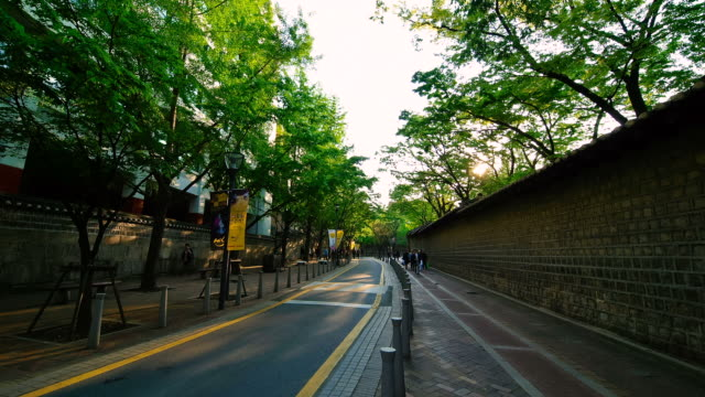 ms t/l people at stone wall of deoksugung palace / seoul, south korea - stone wall stock videos and b-roll footage