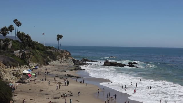 people at the beach of laguna beach in orange county near los angeles california usa the american flag is blowing on the hill next to palm trees - laguna beach california video stock e b–roll