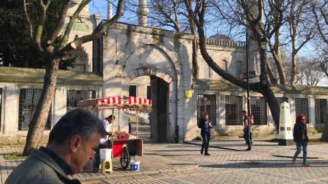 people at the entrance of the blue mosque in istanbul's sultanahmet district on march 9 2018 in istanbul turkey - sultanahmet district stock videos and b-roll footage