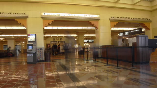 T/L, MS, People at Union Station, Los Angeles, California, USA