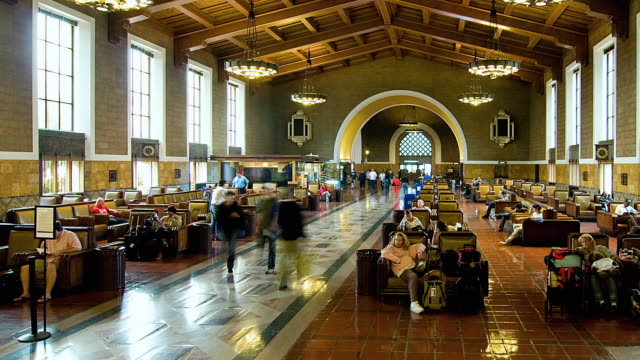 t/l ws zo people at union station, los angeles, california, usa - union station los angeles stock videos & royalty-free footage