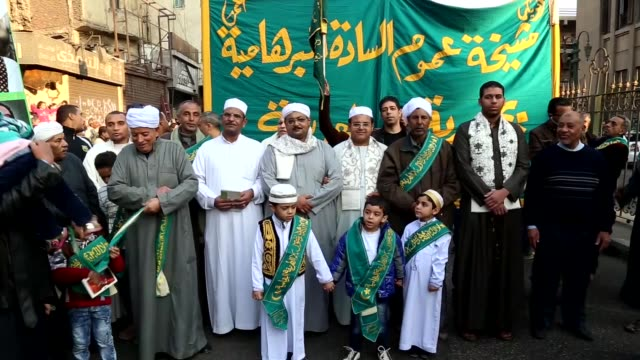 people attend a celebration ceremony held for the 1445th birth anniversary of prophet muhammad during the mawlid alnabi in cairo's aljamaliya region... - muhammad prophet stock videos & royalty-free footage