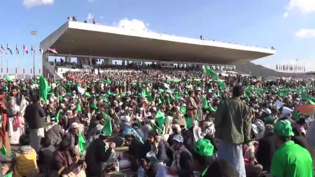 people attend a celebration ceremony held for the 1445th birth anniversary of prophet muhammad during the mawlid alnabi at alsabin square in sanaa... - muhammad prophet stock videos & royalty-free footage