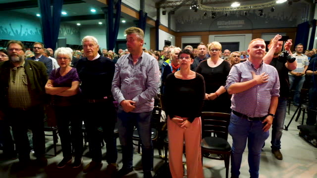 people attend an election campaign rally of the right-wing alternative for germany political party prior to european parliamentary elections on may... - saxony stock videos & royalty-free footage