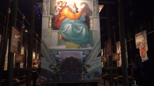people attend michelangelo's sistine chapel exhibition in bogota, colombia. - chapel stock videos & royalty-free footage