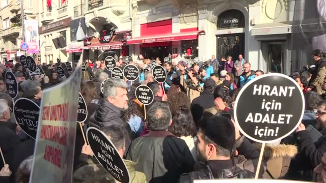 People attend the commemoration ceremony on the 12th death anniversary of Hrant Dink former editorinchief of the bilingual TurkishArmenian newspaper...