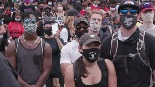 people attend the commitment march get your knee off our necks protest against racism and police brutality on august 28 at the lincoln memorial in... - racism stock videos & royalty-free footage