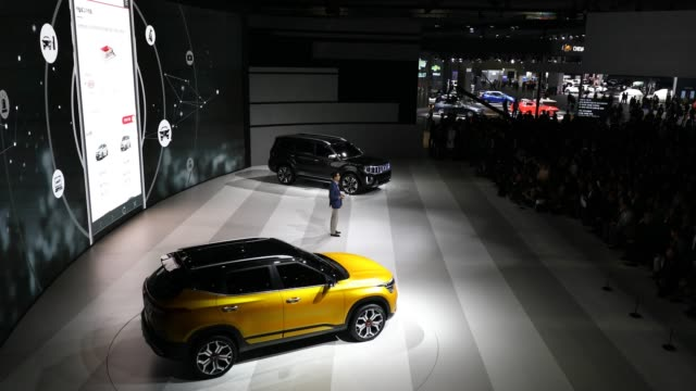 people attend the showcase of the kia motor's mohave at the seoul motor show 2019 at kintex on march 28 2019 in goyang south korea the seoul motor... - goyang stock videos and b-roll footage