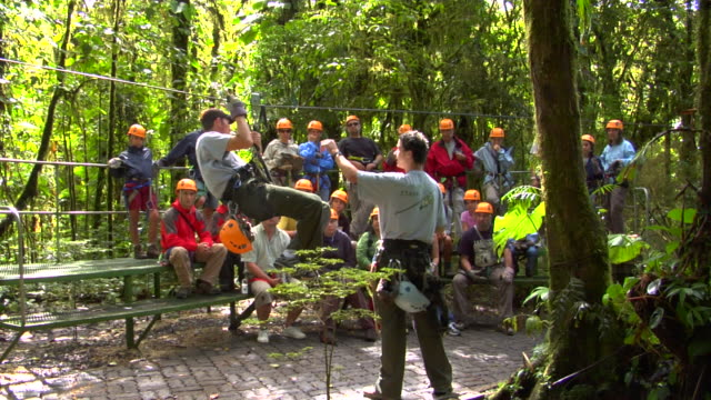 vidéos et rushes de ws people being trained for canopy tour, monteverde, costa rica - canopy tour