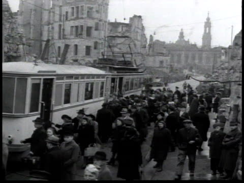stockvideo's en b-roll-footage met ws people boarding a trolley in berlin / germany - 1948