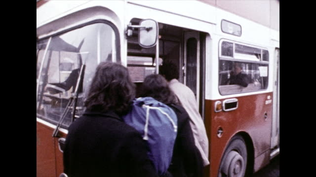 people boarding the bus home after music festival; 1972 - 1972 stock videos & royalty-free footage
