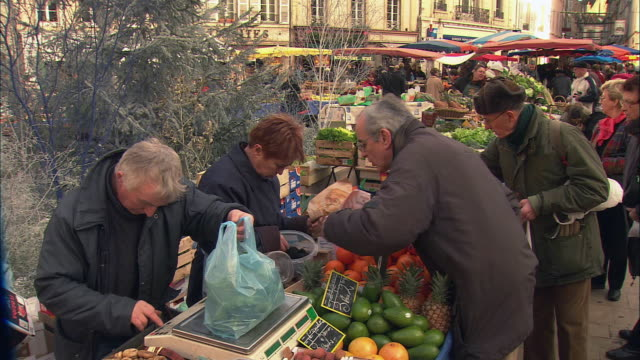 ms people buying fruits in street market / beaune, burgundy, france - francia video stock e b–roll