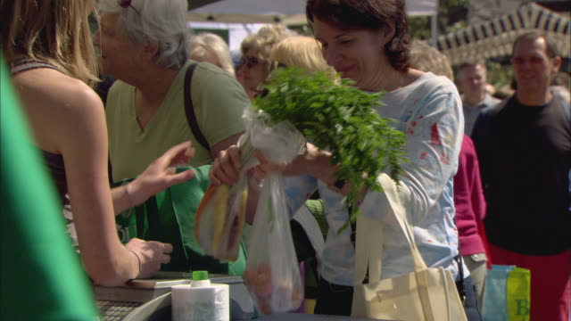 ms people buying vegetables at outdoor farmer's market / lake oswego, oregon, usa - reusable bag stock videos & royalty-free footage