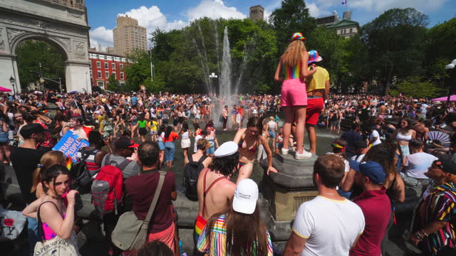 people celebrate the nyc gay pride nyc 2021 - marching stock videos & royalty-free footage