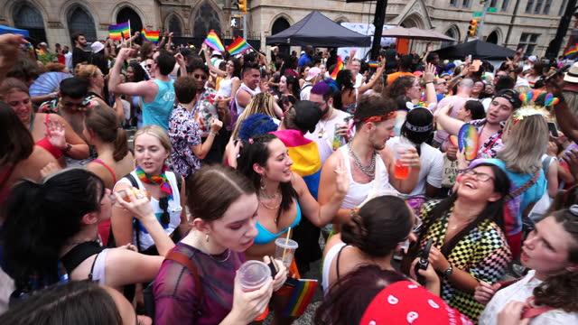 people celebrate the nyc gay pride nyc 2021 - pride stock videos & royalty-free footage