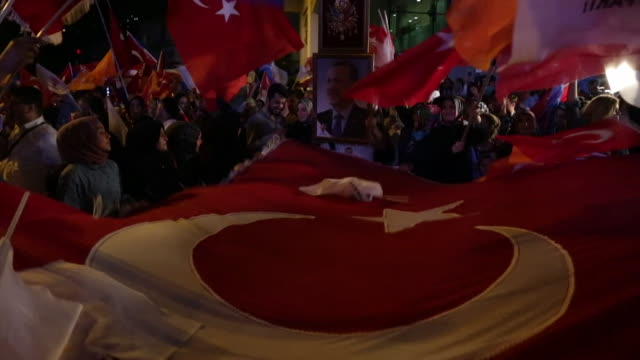 people celebrate the success of recep tayyip erdogan of the ak party in june 2018's presidential election - presidential election stock videos and b-roll footage